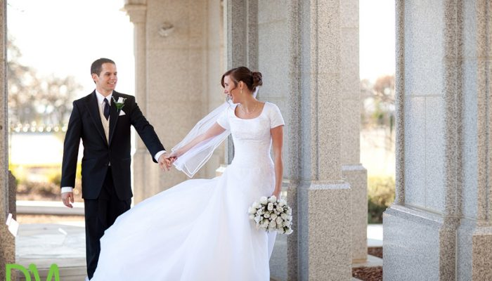Mormon bride and groom at temple